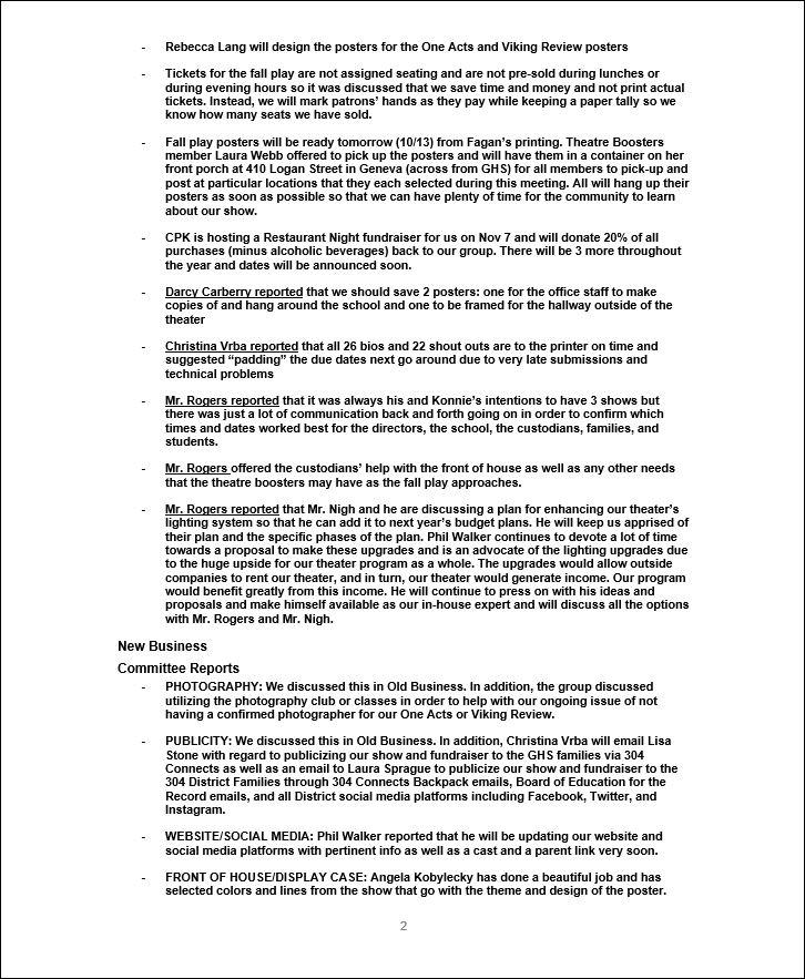Meeting Minutes | Geneva Theatre Boosters